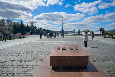 memorable: Moscow, Russia - May 4, 2017:  Victory Park on Poklonnaya Hill. Memorable symbols from the beginning of war in 1941 to a victory in 1945