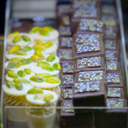 Handmade original candies with cream, chocolate, nuts