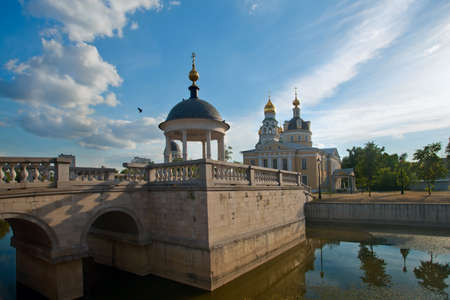 Park with  pond, the bridge and an arbor near Old Belief churches in the Rogozhsky settlement in Moscow