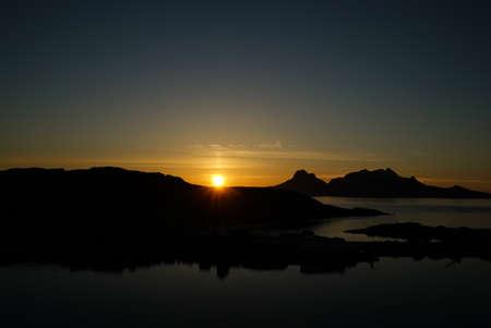 lofoten: Sunset in Lofoten Stock Photo