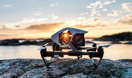 capturing: Drone capturing Sunset Stock Photo