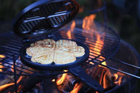 wafles: Making Waffles Foto de archivo