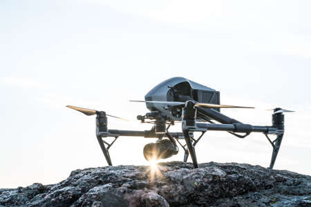 The aerial cinematography drone of 2017 Stock Photo