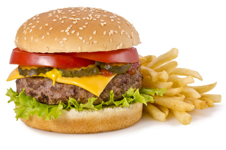 cheeseburgers: Burger and french fries Stock Photo