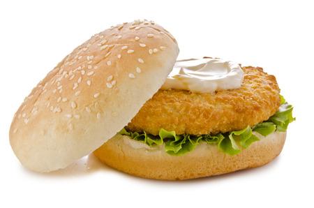 eating chicken: Chicken burger