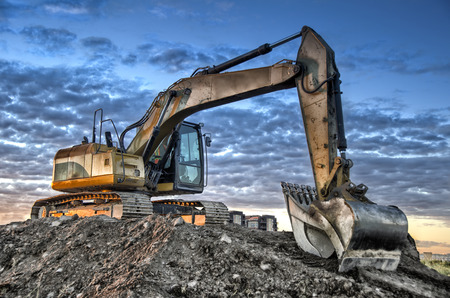 heavy equipment: Excavator Stock Photo