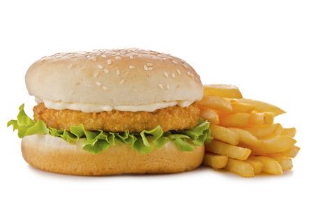 鶏のハンバーガー 写真素材