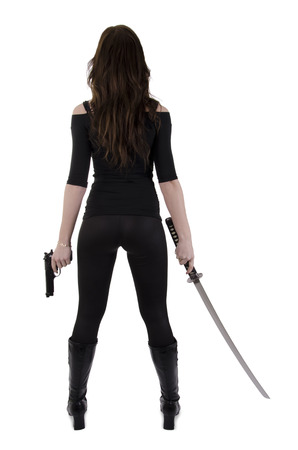 traditional weapon: Young woman with katana Stock Photo
