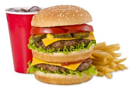 ハンバーガー、フライド ポテトとコーラ