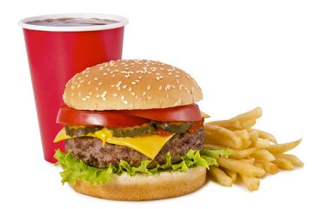 ハンバーガー、フライド ポテト、コーラ