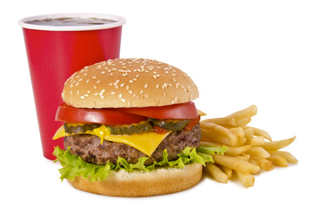 close up food: Burger, french fries and cola