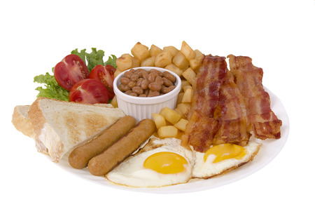 bacon baked beans: Traditionnal breakfast Stock Photo