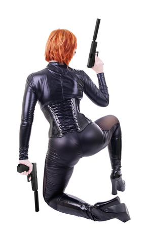 assassin: Sexy woman with guns.