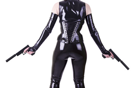 catsuit: Sexy woman with guns.