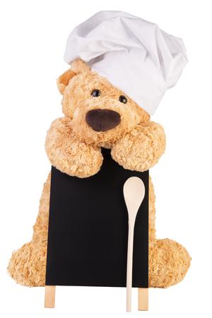 Teddy bear with slate board. Standard-Bild