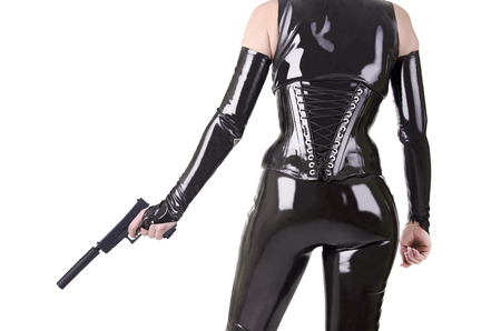 catsuit: Sexy woman with gun.