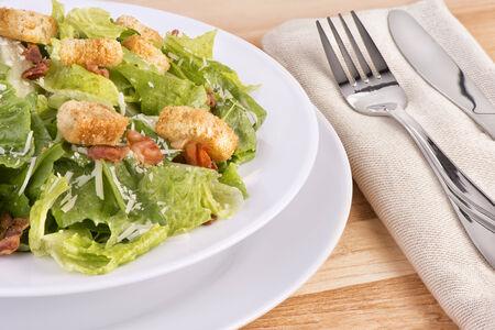 eating salad: Fresh caesar salad