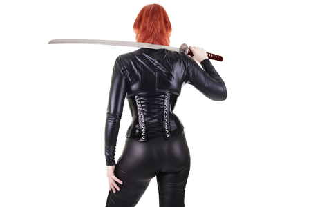 catsuit: Sexy woman with katana