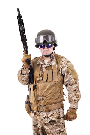 Soldier in uniform, ready to fight Stock Photo