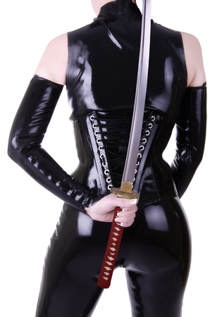 Sexy woman with katana photo