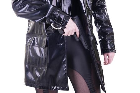 the silencer: Sexy woman with gun.