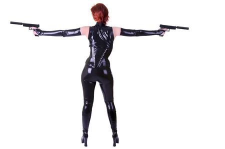 Sexy woman with guns. photo