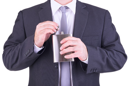 hip flask: Man with his hip flask