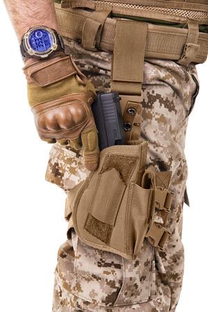 glock: Soldier man in camouflage uniform.
