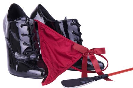shoe string: Riding crop and panties