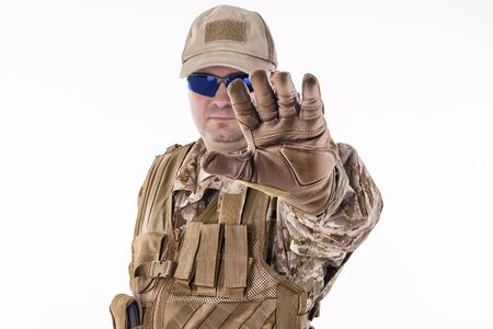 stop gesture: Military man showing stop gesture Stock Photo