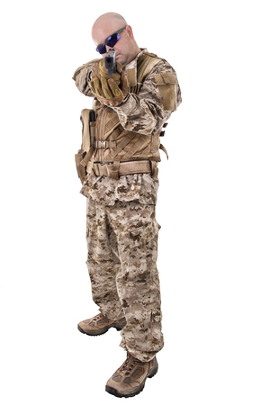 glock: Soldier in uniform, ready to fight Stock Photo
