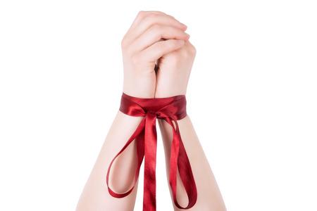 Woman tied up. Standard-Bild