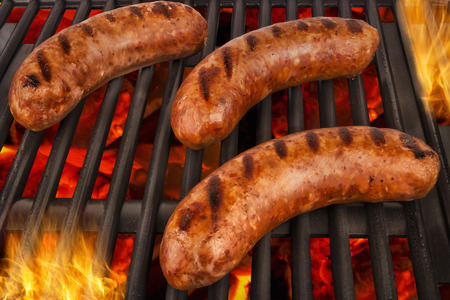 veal sausage: Grilled sausages Stock Photo