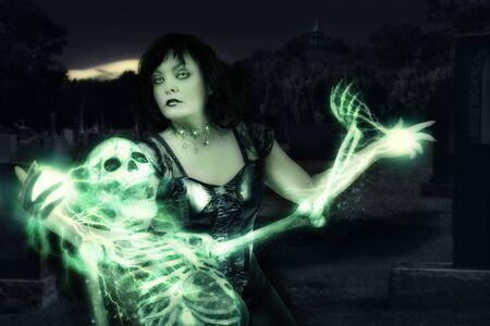 casting: Sorceress casting spells on skeleton.