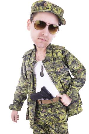 glock: Big head military man Stock Photo