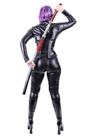 female assassin: Sexy woman with katana