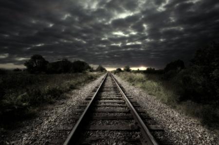 railroad track: Vintage railroad track Stock Photo