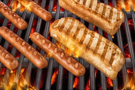 veal sausage: Hot dog on grill