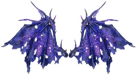 Dragon vleugels op een witte achtergrond. Detailopname.