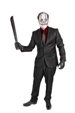 Masked killer in elegant suit, isolated on white background.