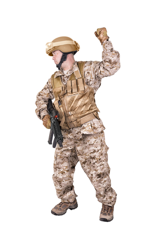 Soldier in uniform, ready to fight. Isolated on white background.