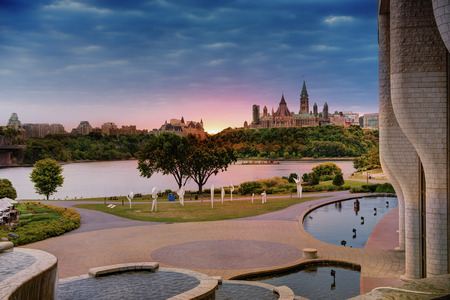 View of the Parliament of Ottawa from the other side of the Ottawa River. Stock Photo