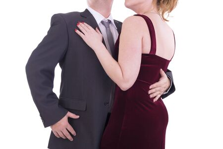 dress suit: Unrecognizable dancing couple, isolated on white background. Stock Photo