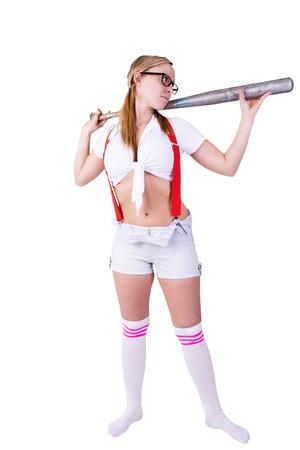 Bad girl holding baseball bat, isolated on white background