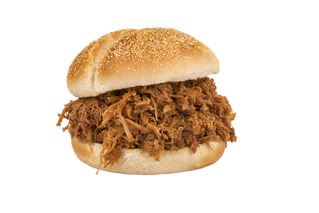 Close up on pulled pork sandwich isolated on white background. Stock fotó