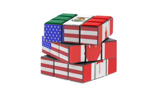 北アメリカの自由貿易協定。経済パズル概念。 写真素材