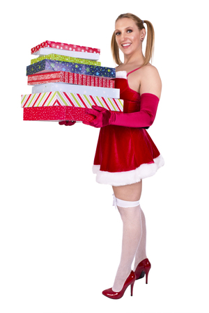 boxing day: Sexy girl wearing santa claus clothes, isolated on white background.