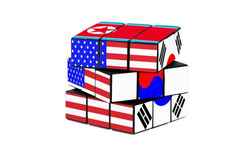 USA, South Korea and North Korea flag puzzle shape. Isolated on white background.