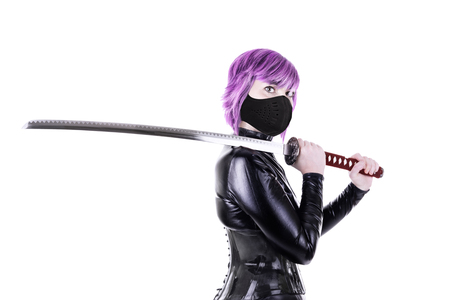 Sexy woman holding katana. Isolated on white background. Stock Photo - 99794363