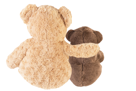 Back view of two teddy bears friends, isolated on white background. Archivio Fotografico